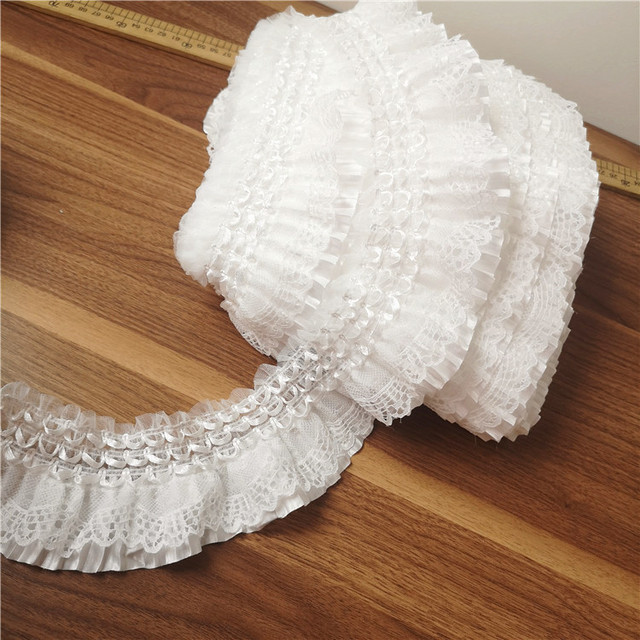7CM Wide Exquisite White Lace Embroidery Ribbon Elastic Ruffle Trim Collar Sewing Clothing Skirt Headwear Applique Guipure Decor
