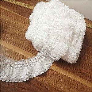 Image 4 - Fita de bordado com elástico de 7cm, laço branco de largura, com babado, costura, saia, roupas de costura, aplique, decoração guipure