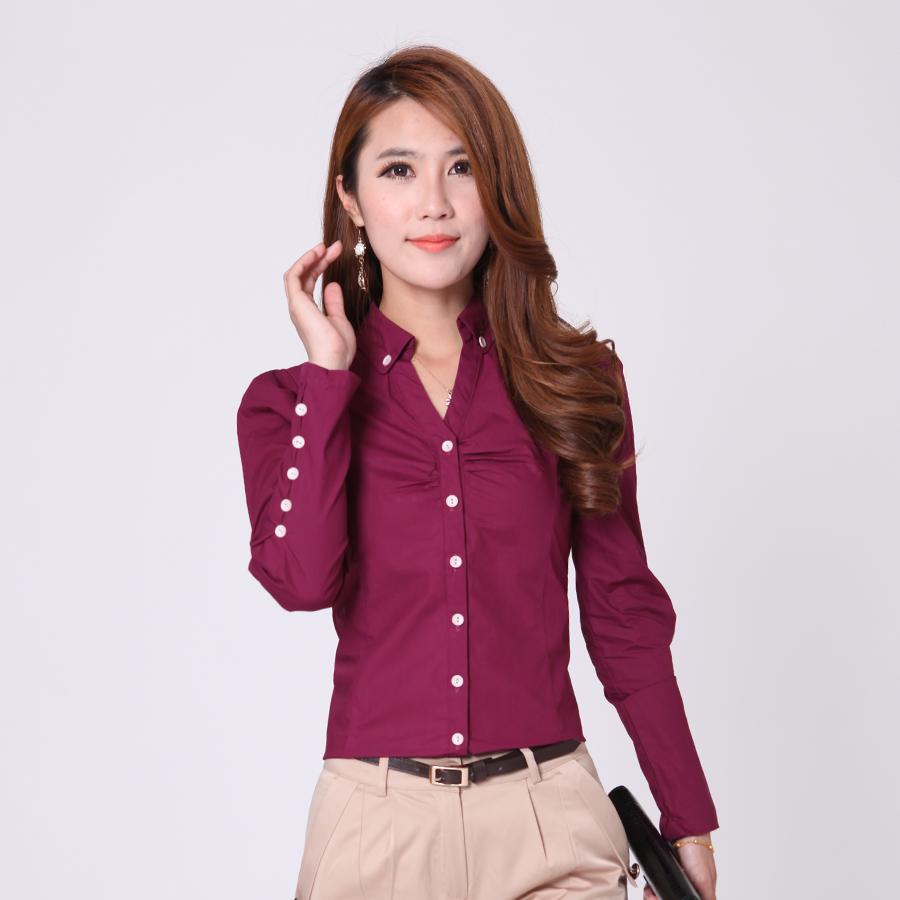 Shirt design ladies - Female Office Clothing Women Solid Color Shirts Size S 2xl V Neck Design Lady
