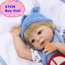 New NPK 57CM Realistic Full Body Silicone Reborn Dolls Lovely Baby Boy In Blue Clothes For