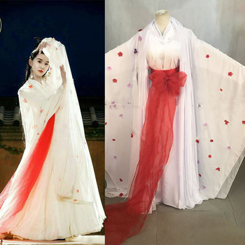 Feng Qing Chen White Fairy Costume with Red Flowers Hanfu Costume for Newest TV Play Zui Ling Long Classic Dance Costume Stage маска от ветра и пыли qing long lin 08