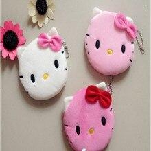 Hello kitty портмоне лук кошельки леди розовый плюшевые кошелек хранения девушки
