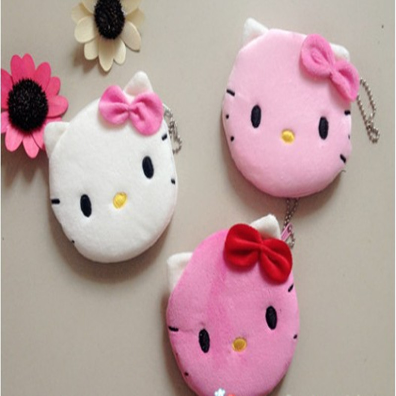 1Pcs Coin Purse & Wallet Pouch Lady's Purses Plush Hello Kitty Kids Girl's Storage Bag Case Handbag Women bow mini pink wallets hello kitty canvas hand coin purse