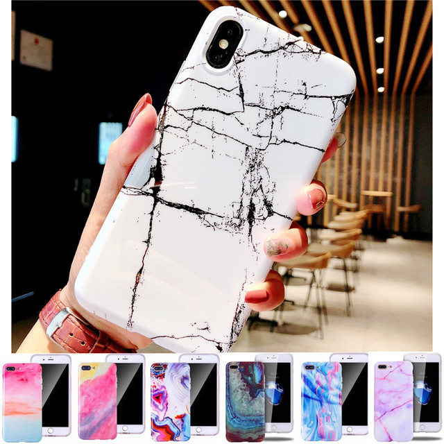JeKacci New Glossy Marble Stone Phone Case For iPhone X XS XR 6 6S 7 8 Plus For iPhone XS MAX Cases Fashion Silicone TPU Cover