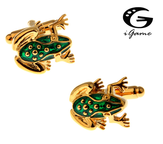 US $2 99 15% OFF|iGame Golden Frog Cuff Links Green Color Cute Frog Design  Hotsale Copper Material Cufflinks Free Shipping-in Tie Clips & Cufflinks