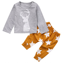 2PCS Newborn Infant Baby Clothes Bebes Boys Girls Deer T-shirt Tops + Star Pant Outfit Toddler Kids Clothing Set 0-24M