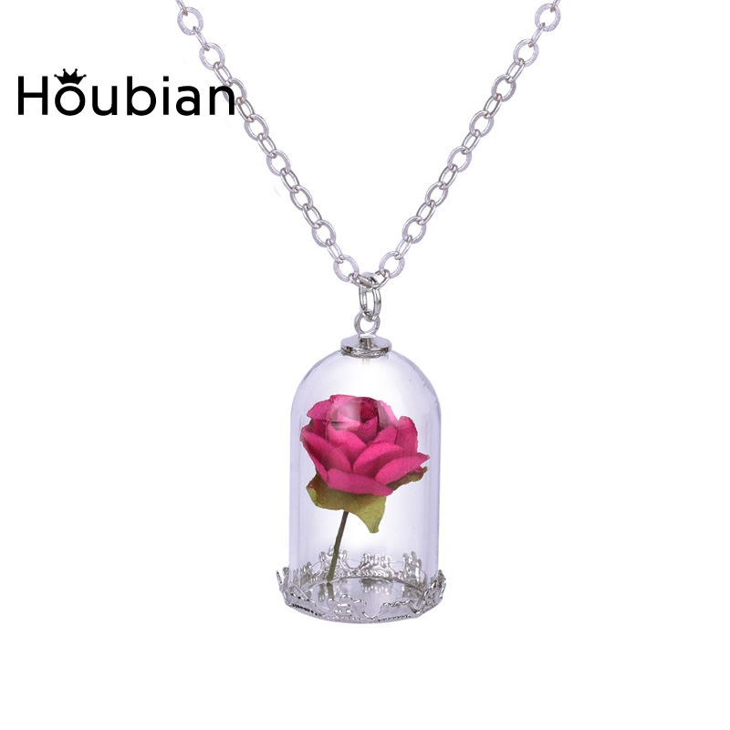 HouBian 2Pcs/lot Fashion Glass Dried Flower Wishing Bottle Pendant - Fashion Jewelry