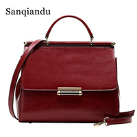 Red Bags for Women Genuine Leather Hand Bag Female Crossbody Messenger Bags Flap Oil Wax Leather Vintage Ladies Shoulder Bag