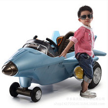 Children's electric fighter remote control can take the baby to ride the electric car music lighting dual drive rotary simulatio