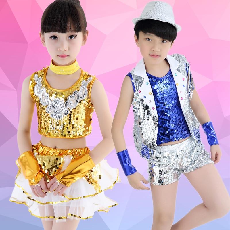Free Shipping Sequin Kids Hip hop Dance Wear Girls Boys Stage Ballroom Dancing Dress Suits Clothes Children Jazz Dance Costumes