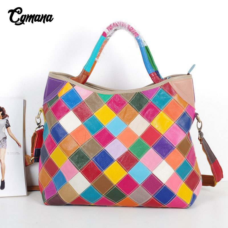 CGmana 100% Genuine Leather Women Handbag 2018 Colorful Natural Leather Patchwork Shoulder Bag Large Capacity Casual Tote Bags cgmana 100% genuine leather women handbag colorful leather patchwork shoulder bag large capacity hollow stitching luxury bag