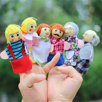 6pcs/lot baby plush toy dolls Family Finger Puppets cloth doll Educational story Hand Puppet Fantoche Toys for children kids hot
