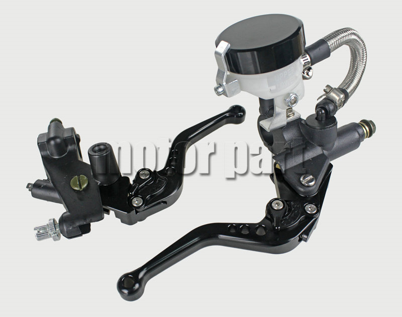 Black Universal 7/8 22mm Handlebar CNC Brake Clutch Levers Master Cylinder Kit With Fluid Oil Reservoir Set For Kawasaki 38mm cylinder barrel piston kit