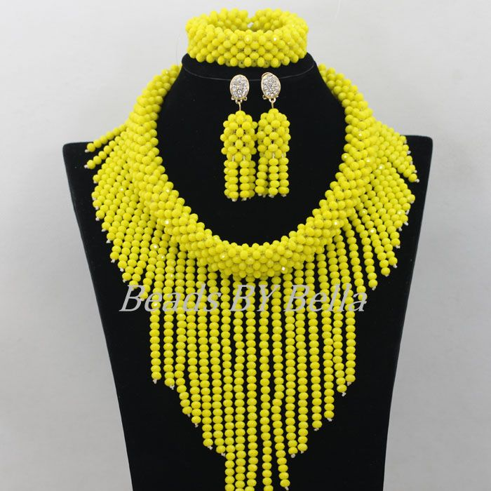 Exclusive Handmade Yellow Crystal Beads Necklace Bridal Jewelry Sets African Wedding Beads Jewelry Set New Free Shipping ABF212