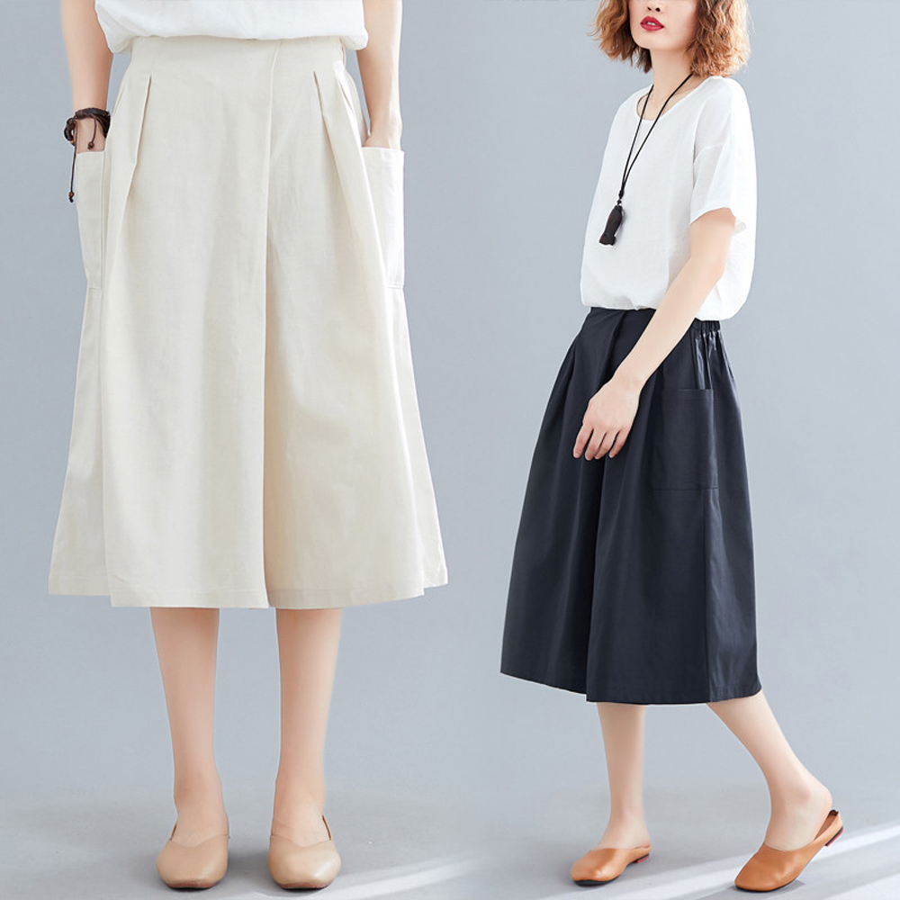Pants   skirt female summer 2019 Korean version of the new fashion high waist show loose loose   pants   casual   wide     leg     pants