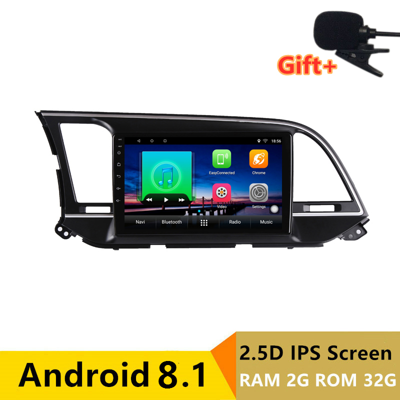 "9"" 2+32G 2.5D IPS Android 8.1 Car DVD Multimedia Player GPS For HYUNDAI Elantra 2016 2017 2018 audio car radio stereo navigation"