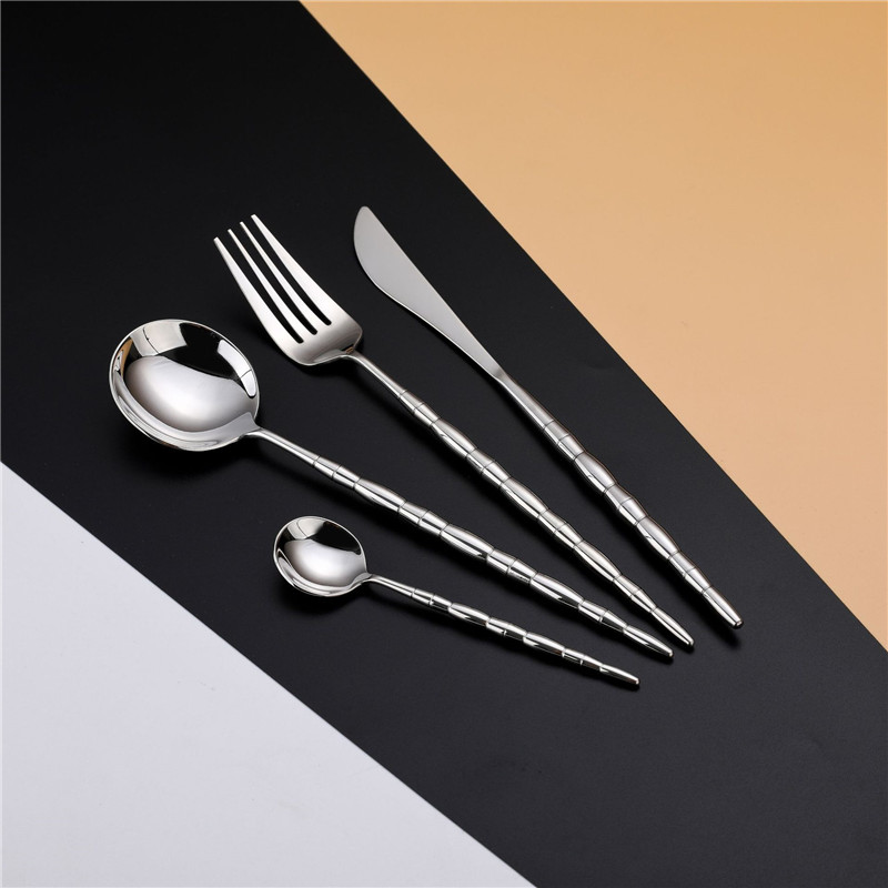 24pcs set Creative Portuguese Silver Stainless Steel Cutlery Set Flatware Set Dinner Knives Fork Spoon Set