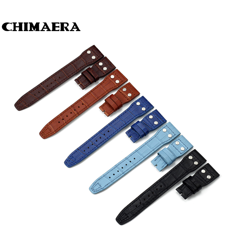 New Watchband 22mm Croco Grain Cowhide Genuine Leather Rivet Watch Band Strap Belt For IWC Big
