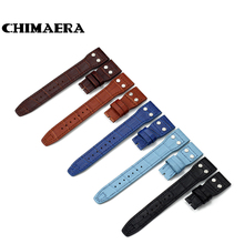 New Watchband 22mm Croco Grain Cowhide Genuine Leather Rivet Watch Band Strap Be