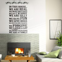 Large House Rules In this House we are real Family Room Wall Decal Family Rules Vinyl Words Sticker 34 x 51 L