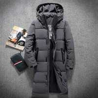 Mens Hooded Extra Long Duck   Down   Padded Jackets Man Thick Winter   Down     Coats   Male Fashion Long Overcoat Keep Warm Outerwear