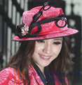 Free Shipping Fashion Women Hat Velvet Hat Winter Hat Girl Cute Trendy Pink Gift Apparel Accessories Church Hat New Design