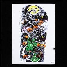 1 Sheet Halloween Tattoo Waterproof Decal HB463 Pumpkin Ghost Women Men Flower Arm Body Art Temporary Tattoo Sticker Design Gift