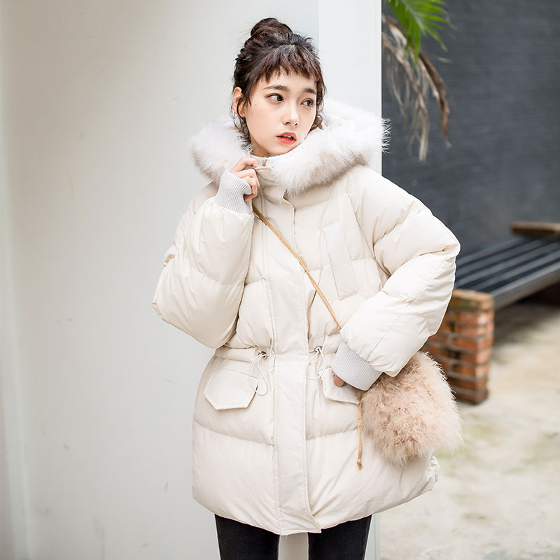 Winter cotton jacket female new parka cotton long section large fur collar cotton female Korean winter