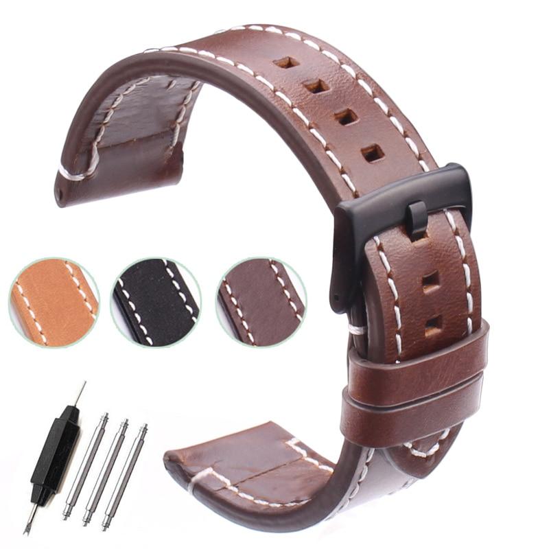 Genuino correas 18mm 20mm 22mm 24mm negro marrón oscuro mujeres hombres zurriago venda de reloj de la correa cinturón con hebilla