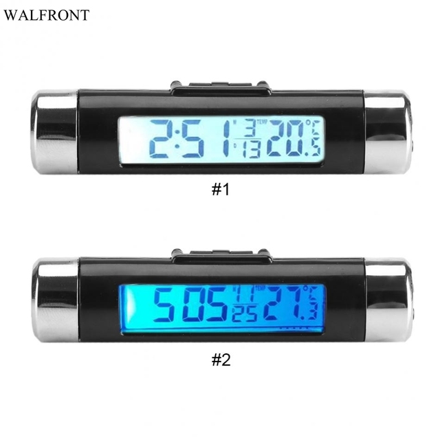 Precise LCD Car Clock Thermometer Automotive Digital Backlight Clock Monitor Clip-on Truck Car Two Choice In Background Colour