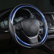KKYSYELVA Blue Car Sport Steering-wheel Cover Leather Auto Steering Covers Universal 38CM wheel cover