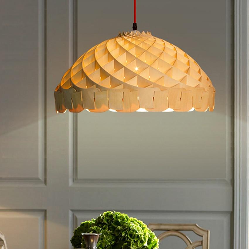 US $184.73 9% OFF|Moderne beleuchtung holz anhänger licht Dia 50 cm nordic  holz waben hängen lampe wohnzimmer restaurant bar led suspension licht-in  ...
