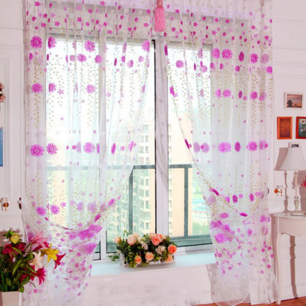 Pretty Floral Tulle Bolcony Floral Tulle Voile Door Window Curtain Drape Panel Sheer Scarf Valances