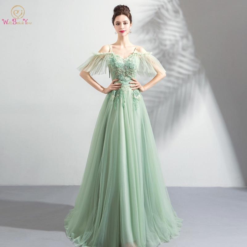 Us 7696 20 Offlight Green Prom Dresses Vestidos De Graduacion 2019 Off Shoulder Spaghetti Straps Lace Appliques Illusion Beading Evening Gowns In