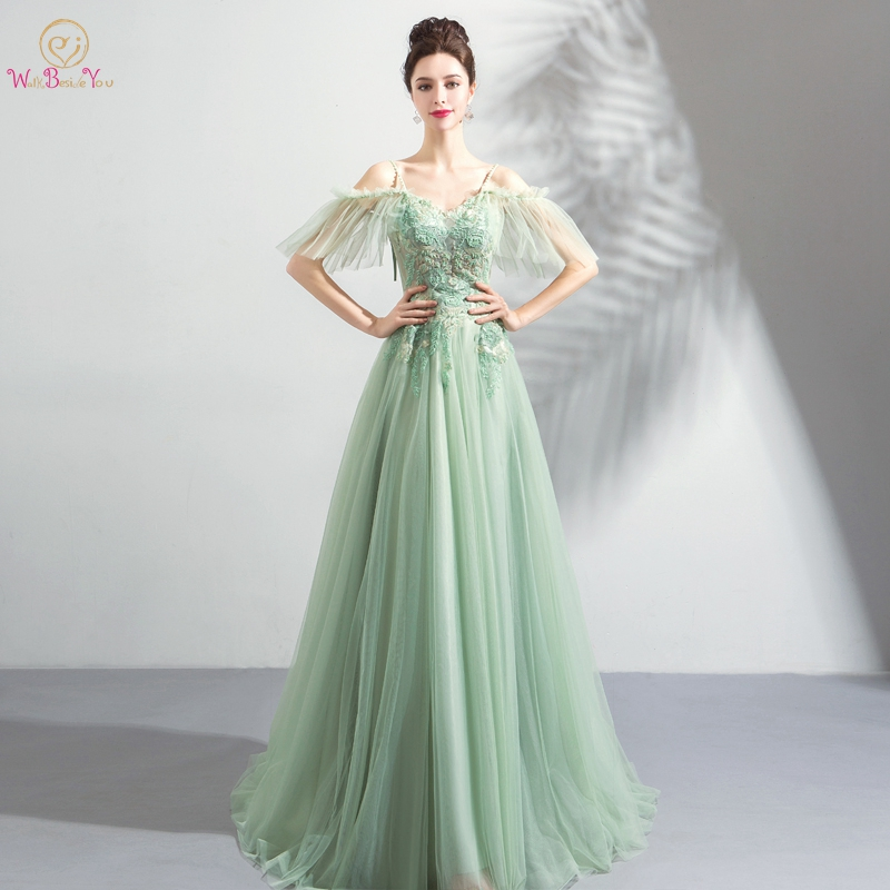 Light Green   Prom     Dresses   vestidos de graduacion 2019 Off Shoulder Spaghetti Straps Lace Appliques Illusion Beading Evening Gowns