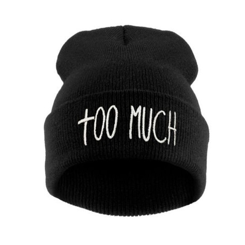 580a1c470ec Letter TOO MUCH Embroidery Hip Hop Hats Autumn Winter Knitting Skullies  Beanies for Women Hipster Unisex Casual Knitted Caps