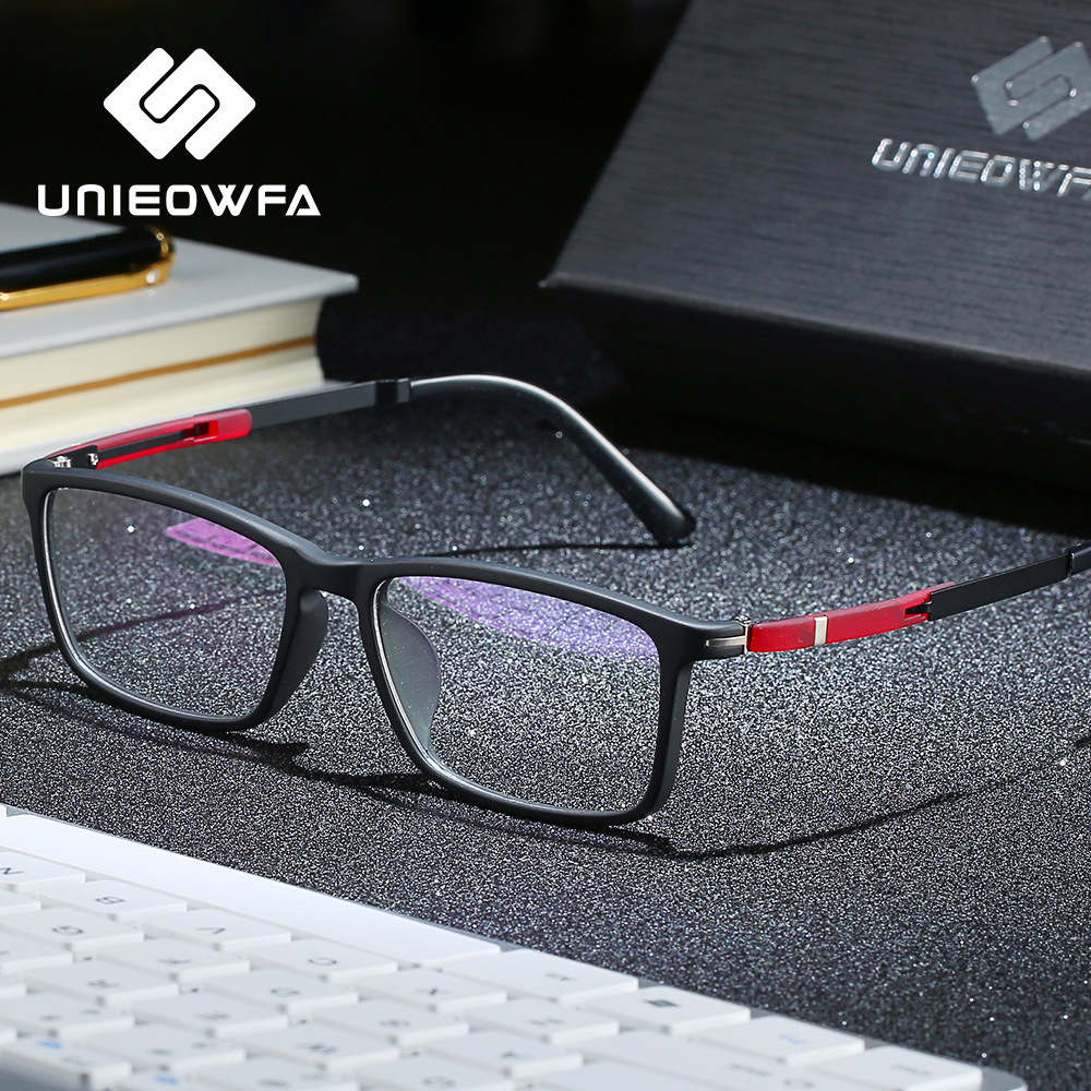 UNIEOWFA Rectangle Optical Glasses Frame Men Clear Transparent Spectacles Frame Eyewear Myopia Prescription Eyeglasses Frames