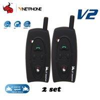 VNETPHONE 2 Sets 1200 M Moto Helm Bluetooth Intercom Interphone Headset Voor 2 Renners Full Duplex Draadloze BT Intercom Headset