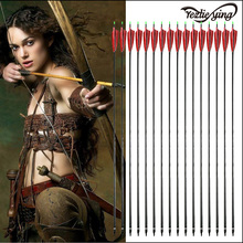 9PCS 30Inch  Hunting ArcheryPure Carbon Arrow Red Turkish Feathers Replaceable Spine 500 For Recurve/Coumpond Bow Archery