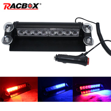 12V Car Truck Emergency Warning Strobe Light Flasher Dash Day Running Blue Red Police light 8 Leds 3 Flashing Modes DRL