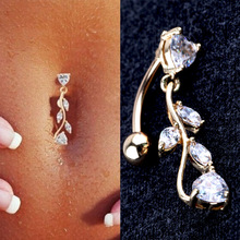 High quality Medical Steel Crystal Rhinestone Belly Button Ring Dangle Navel Body Jewelry Piercings Tassel
