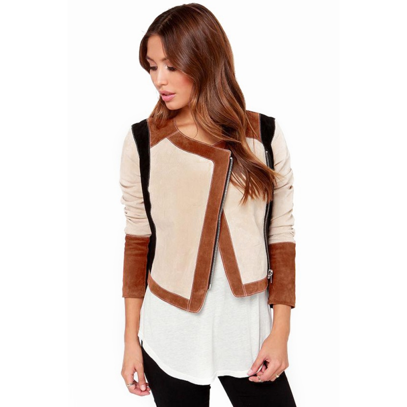 Otoño señora de manga larga de lana corta cremallera de la chaqueta chaquetas Ou