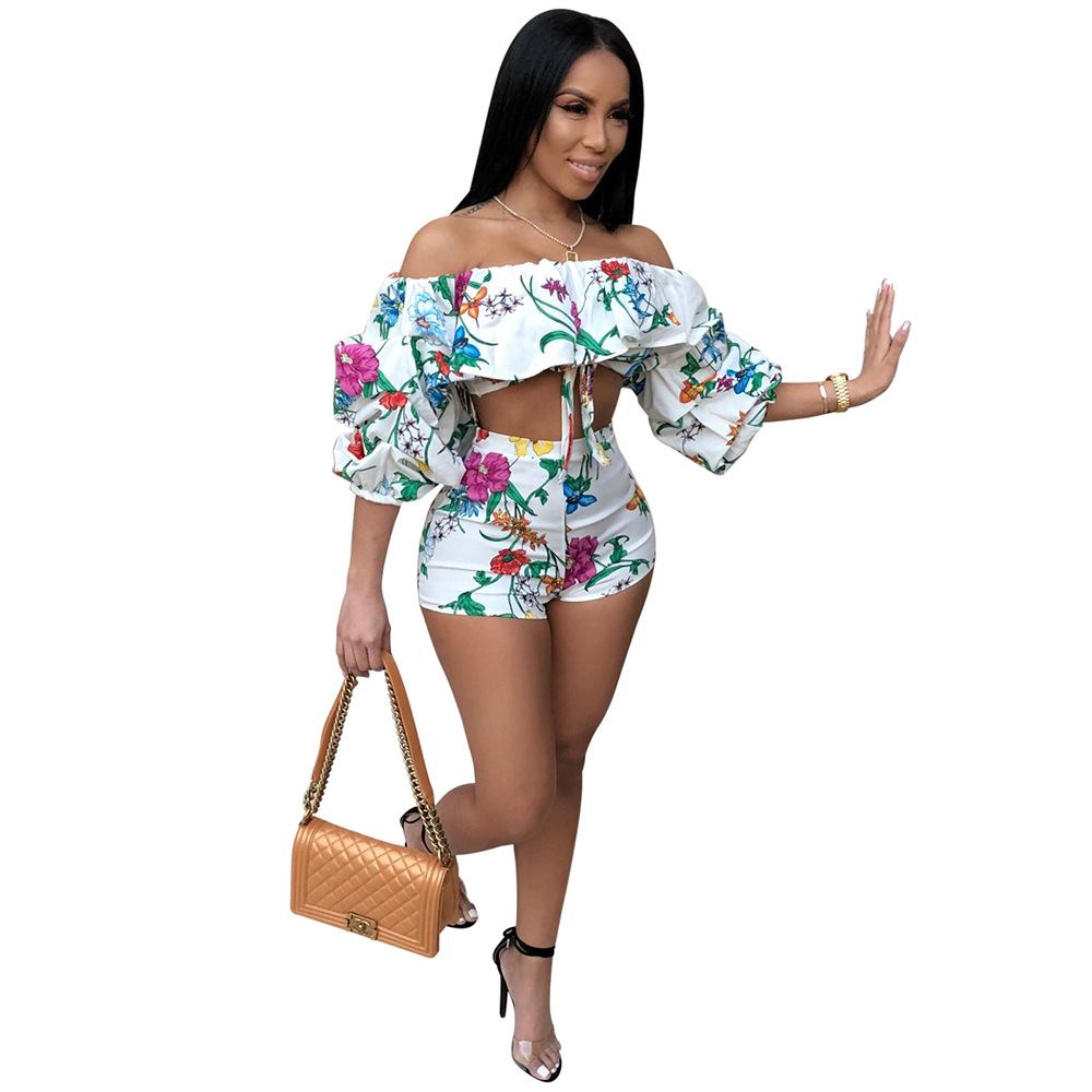 Adogirl 2018 Summer Women Off Shoulder Floral Printing Women Sets Sexy 2 Piece Cotton Tops And Short Pants Sets Beach Bow Suits