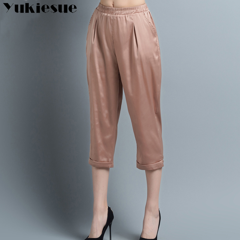 Silk harem   pants     capris   woman 2018 summer style loose high elastic waist women   pants   rayon chiffon trousers female Plus size