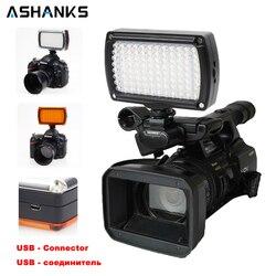 ASHANKS światło led do kamery na zdjęcie z kamery żarówki Hotshoe lampka led do ładowarki USB DSLR ślubne oświetlenie fotograficzne w Oświetlenie fotograficzne od Elektronika użytkowa na