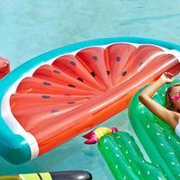 180CM PVC Inflatable Watermelon Floating Water Swimming Inflatable Semi Round Float Mattress Sunbathe Beach Mat Air Beach Toys
