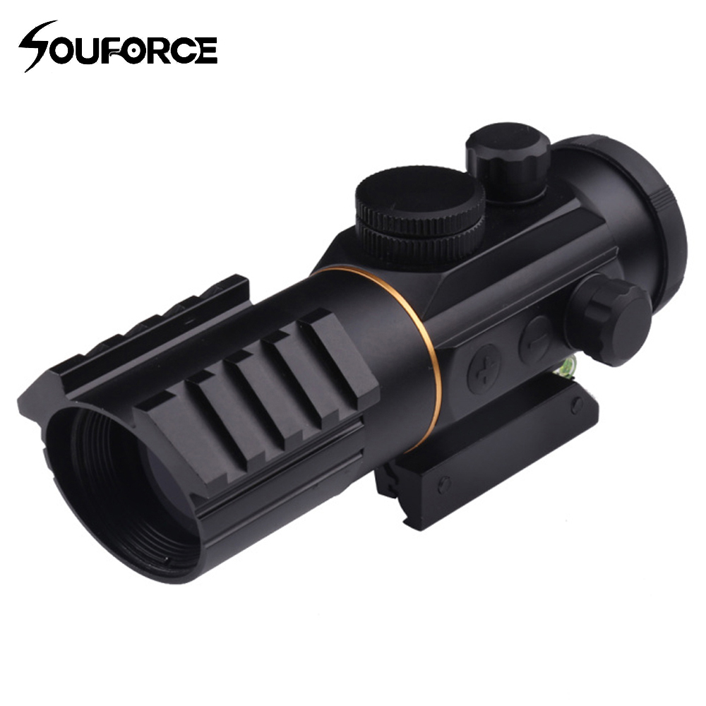 3x42 Red Dot Sight Scope with Spirit Bubble Level Fit Picatinny Rail Mount 11mm and 20mm Riflescope Hunting Shooting ...