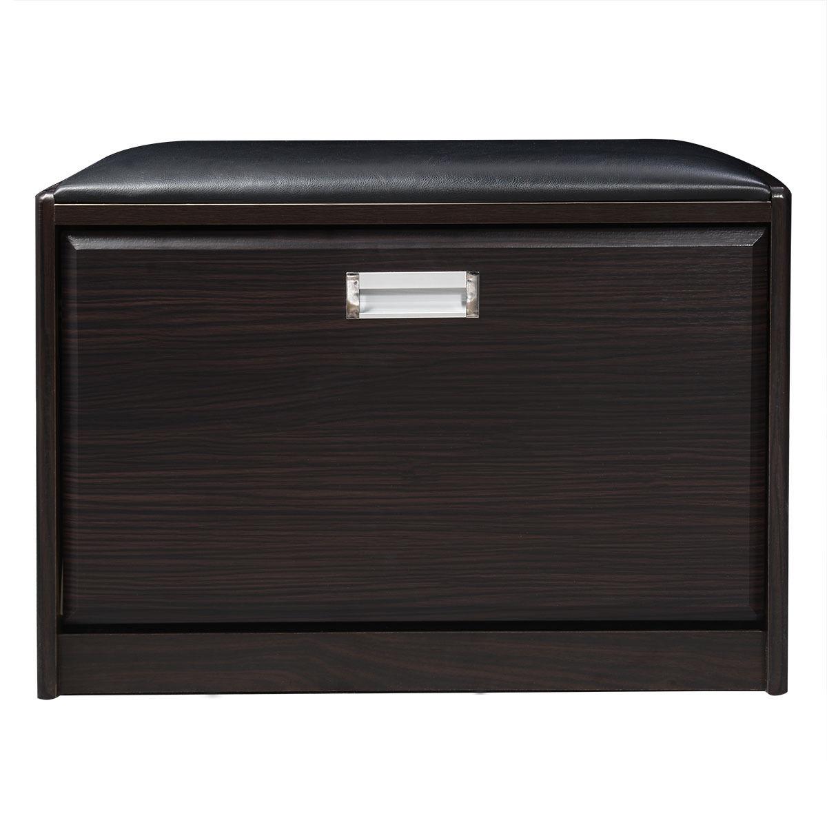 Practical Wooden Shoe Cabinet Closet Storage Rack Pu Seat Bench