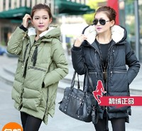 Brand ladies white goose down feather winter coats women's overall style jacket puff parkas with detachable hood black WS2090