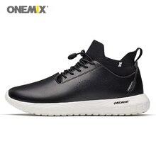 ONEMIX мужская обувь для ходьбы стиль жизни 3 в 1 комплект мужские кроссовки для занятий на открытом воздухе Спорт прогулки мягкая микро ткань высшего класса кожа черный белый